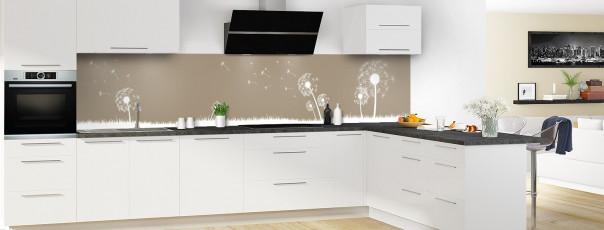 Crédence de cuisine Pissenlit au vent couleur marron glacé panoramique motif inversé en perspective