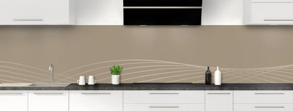 Crédence de cuisine Courbes couleur marron glacé panoramique