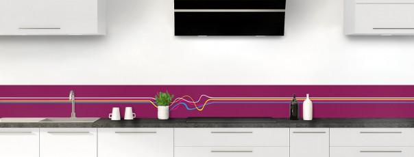 Crédence de cuisine Light painting couleur prune dosseret motif inversé