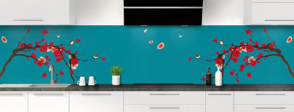Crédence de cuisine Cerisier japonnais couleur bleu canard panoramique motif inversé