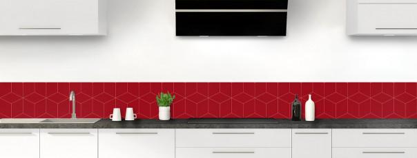 Crédence de cuisine Cubes en relief couleur rouge carmin dosseret