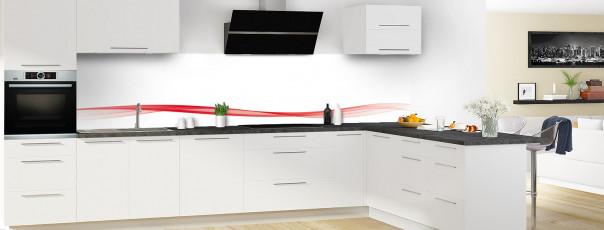 Crédence de cuisine Vague graphique couleur rouge vif dosseret en perspective