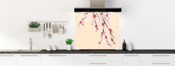 Crédence de cuisine Arbre fleuri couleur sable fond de hotte