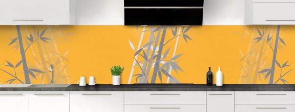 Crédence de cuisine Bambou zen couleur abricot panoramique