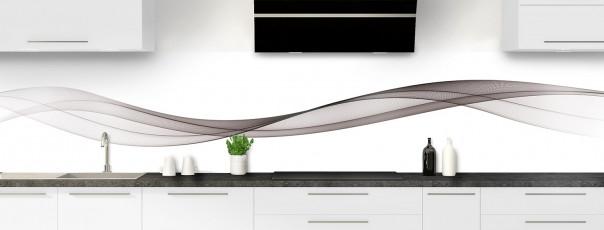 Crédence de cuisine Vague graphique couleur taupe panoramique motif inversé