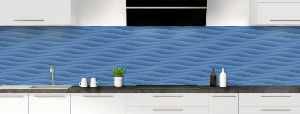 Crédence de cuisine Ondes couleur bleu lavande panoramique