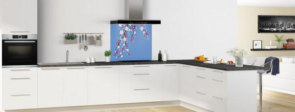 Crédence de cuisine Arbre fleuri couleur bleu lavande fond de hotte motif inversé en perspective