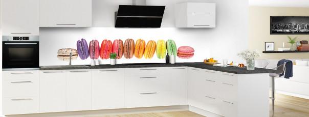 Crédence de cuisine Macarons panoramique motif inversé en perspective