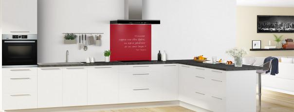 Crédence de cuisine  Citation Paul Gauguin couleur rouge carmin fond de hotte en perspective
