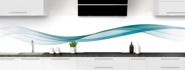 Crédence de cuisine Vague graphique couleur bleu canard panoramique motif inversé