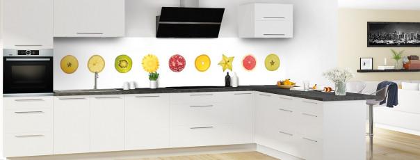 Crédence de cuisine Tranches de fruits panoramique motif inversé en perspective