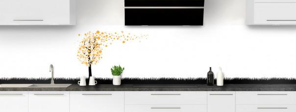 Crédence de cuisine Arbre d'amour couleur abricot panoramique