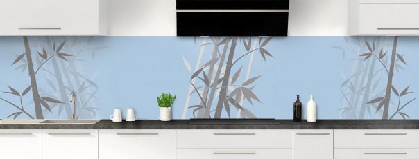 Crédence de cuisine Bambou zen couleur bleu azur panoramique