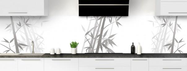 Crédence de cuisine Bambou zen couleur blanc panoramique
