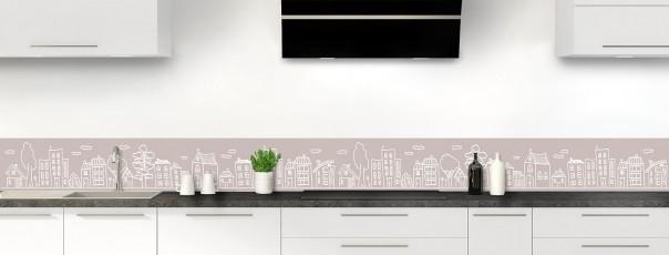 Crédence de cuisine Dessin de ville couleur argile dosseret
