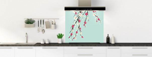 Crédence de cuisine Arbre fleuri couleur vert pastel fond de hotte motif inversé