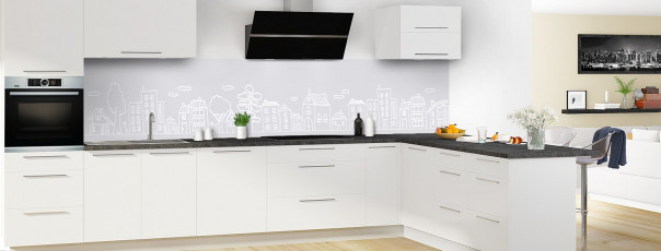 Crédence de cuisine Dessin de ville couleur gris clair panoramique en perspective
