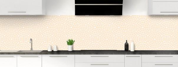 Crédence de cuisine Mosaïque cercles couleur sable panoramique