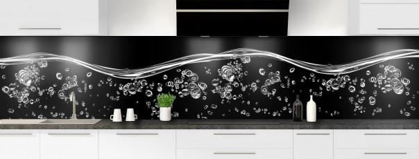 Crédence de cuisine Aqua et bulles Noir panoramique