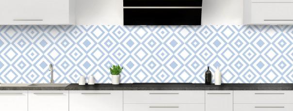 Crédence de cuisine Losanges vintage couleur bleu azur panoramique