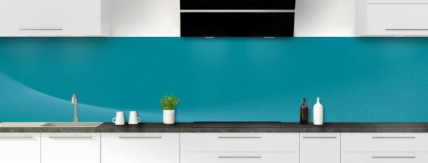 Crédence de cuisine Ombre et lumière couleur bleu canard panoramique