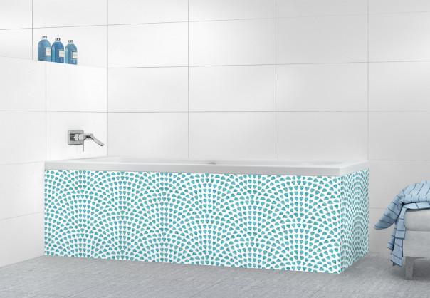 Panneau tablier de bain Mosaïque petits cœurs couleur bleu lagon