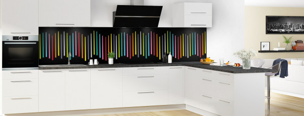 Crédence de cuisine Barres colorées couleur noir panoramique en perspective