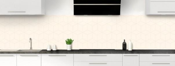 Crédence de cuisine Cubes en relief couleur magnolia panoramique