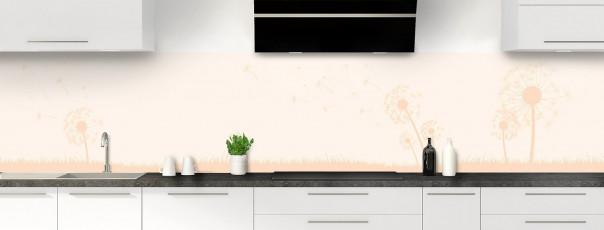 Crédence de cuisine Pissenlit au vent couleur magnolia panoramique motif inversé