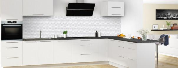 Crédence de cuisine Motif vagues couleur blanc panoramique en perspective