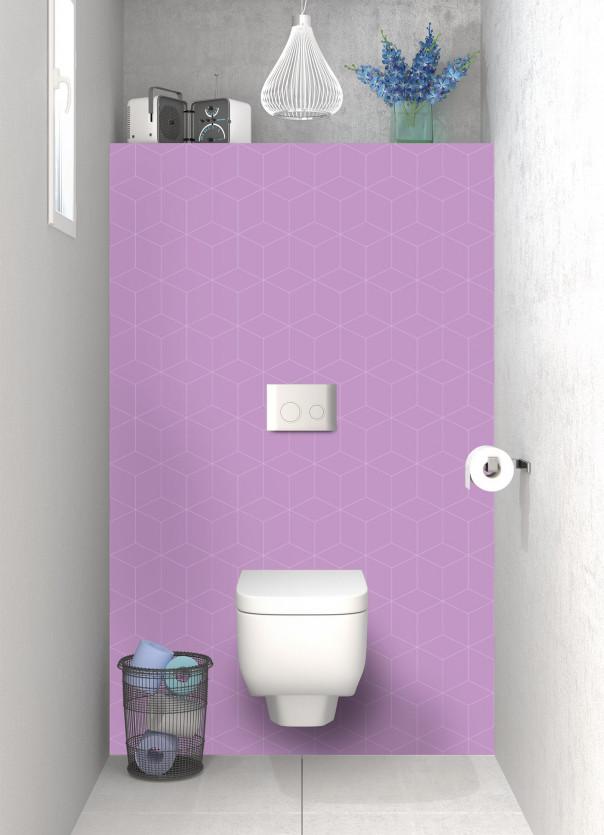 Panneau WC Cubes en relief couleur parme