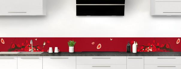 Crédence de cuisine Cerisier japonnais couleur rouge carmin dosseret motif inversé