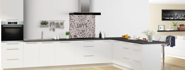 Crédence de cuisine Love illustration couleur argile fond de hotte en perspective