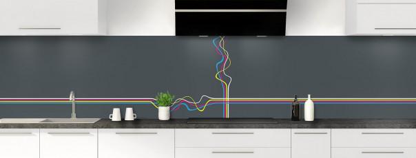 Crédence de cuisine Light painting couleur gris carbone panoramique motif inversé