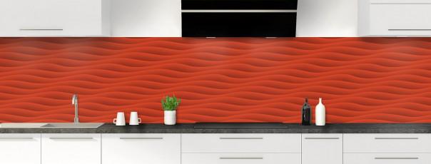 Crédence de cuisine Ondes couleur rouge brique panoramique
