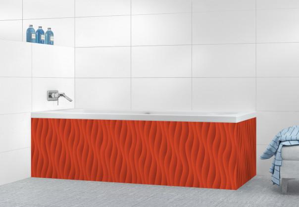Panneau tablier de bain Ondes couleur rouge brique