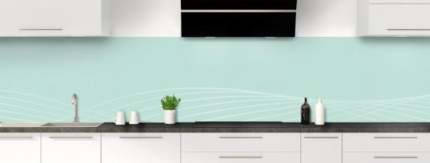 Crédence de cuisine Courbes couleur vert pastel panoramique