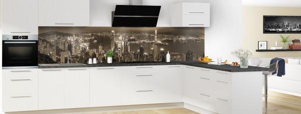 Crédence de cuisine  Hong Kong sépia panoramique motif inversé en perspective