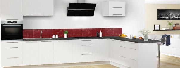 Crédence de cuisine Ardoise rayée couleur rouge pourpre dosseret en perspective