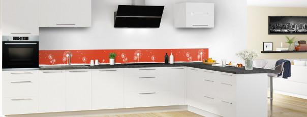 Crédence de cuisine Pissenlit au vent couleur rouge brique dosseret motif inversé en perspective
