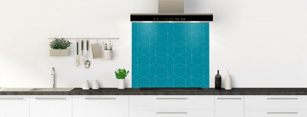 Crédence de cuisine Cubes en relief couleur bleu canard fond de hotte