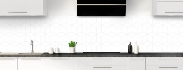 Crédence de cuisine Cubes en relief couleur blanc panoramique