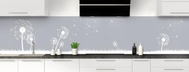 Crédence de cuisine Pissenlit au vent couleur gris métal panoramique