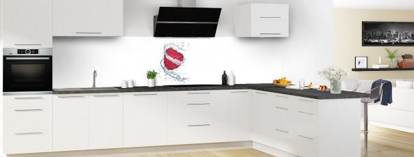 Crédence de cuisine Aqua et framboise panoramique en perspective
