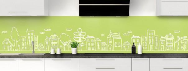 Crédence de cuisine Dessin de ville couleur vert olive panoramique