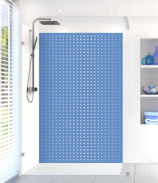Panneau de douche Petits carrés couleur bleu lavande