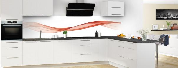 Crédence de cuisine Vague graphique couleur rouge brique panoramique motif inversé en perspective