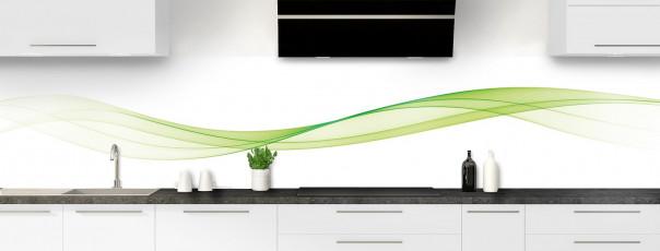 Crédence de cuisine Vague graphique couleur vert olive panoramique motif inversé