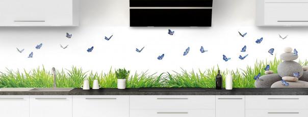 Crédence de cuisine Galets et papillons Blanc panoramique