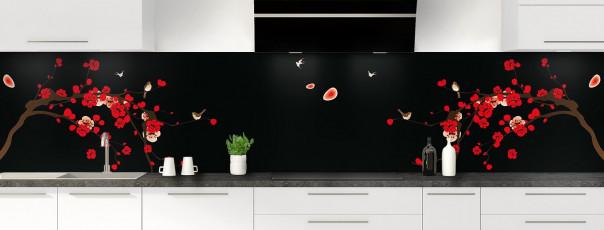 Crédence de cuisine Cerisier japonnais couleur noir panoramique motif inversé